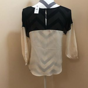 Ann Taylor Tops - Black and ivory color block blouse
